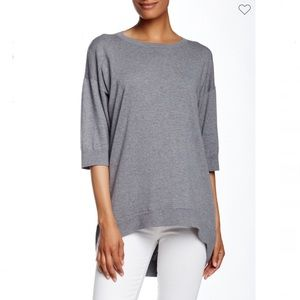 Lafayette 148 Gray Drop Hem Tunic Sweater Sz XL